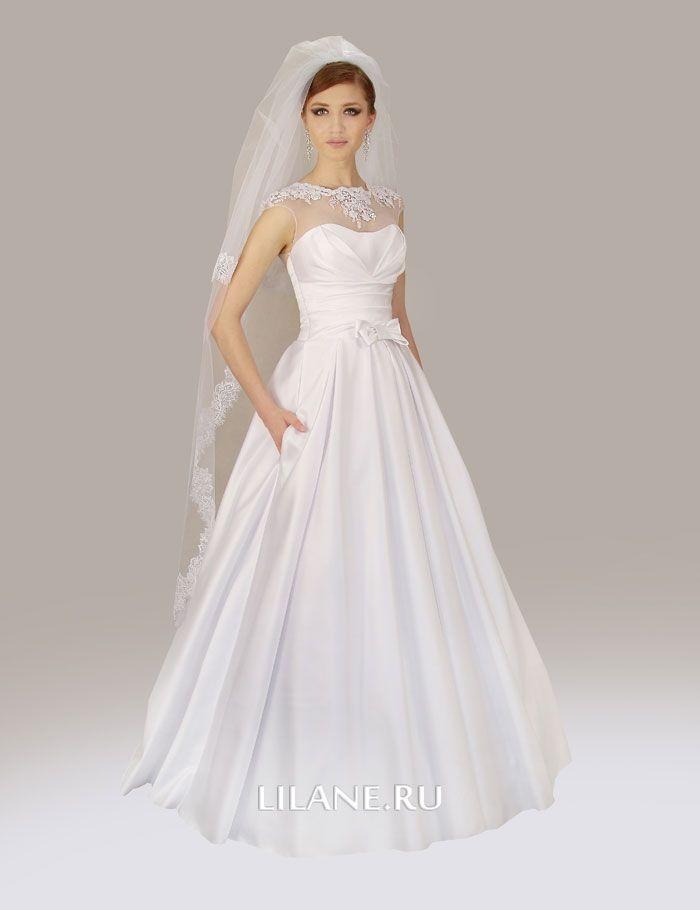 Белое атласное свадебное платье А-силуэт Ailin
