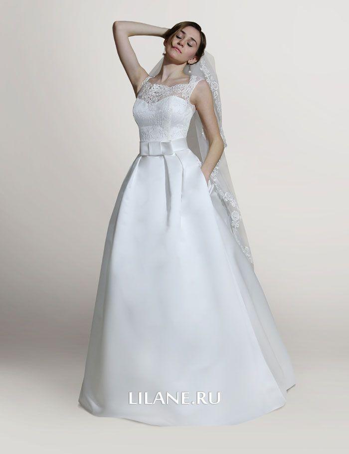 Атласное свадебное платье А-силуэт Dafna