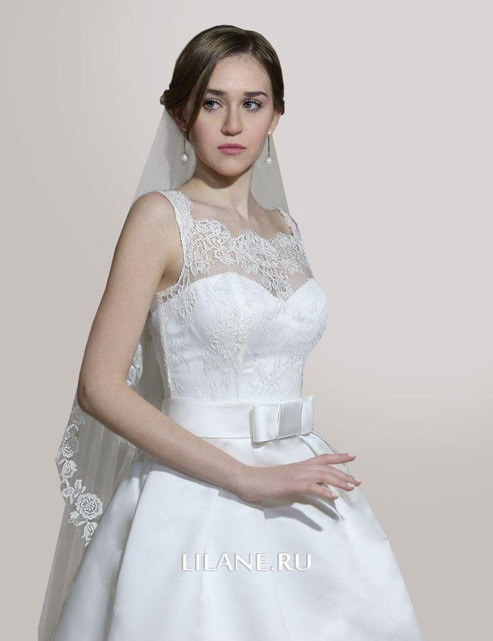 Кружевной верх свадебного платья А-силуэт Dafna цвета айвори