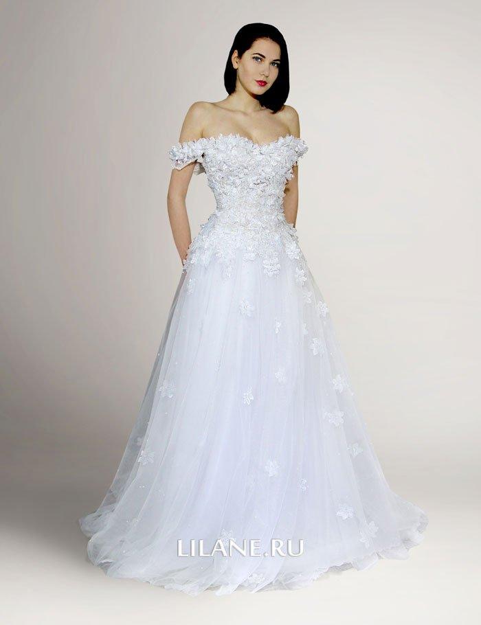 Белое свадебное платье А-силуэт Elli с фатиновой юбкой