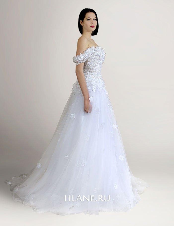 Объёмные цветы свадебного платья А-силуэт Elli