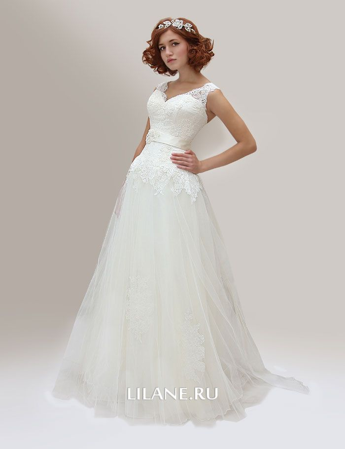 Свадебное платье А-силуэт Inga цвета айвори