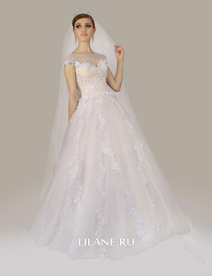 Атласное свадебное платье А-силуэт Kamil
