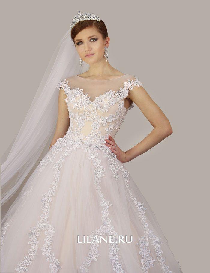 Кружевной верх светло-персикового цвета свадебного платья А-силуэт Kamil