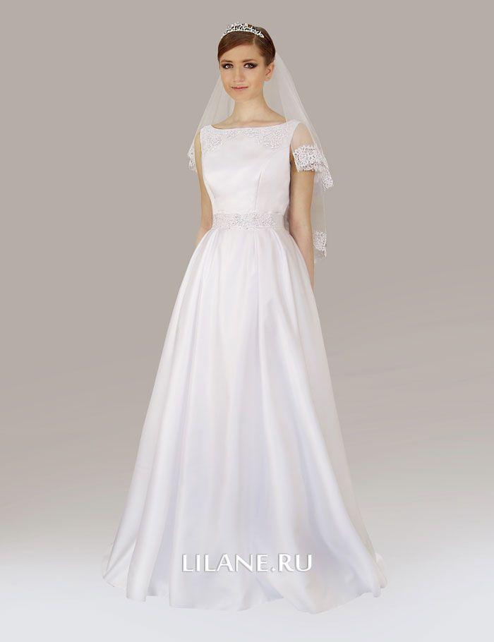 Белое атласное свадебное платье А-силуэт Milana