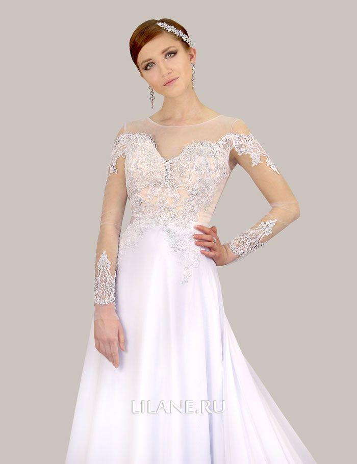 Кружевные рукава свадебного платья А-силуэт Olivi