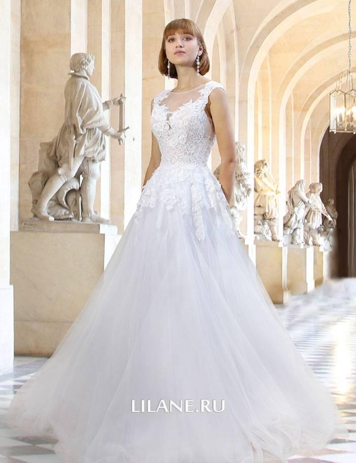 Белое пышное свадебное платье А-силуэт Paula с роскошным кордовым кружевом