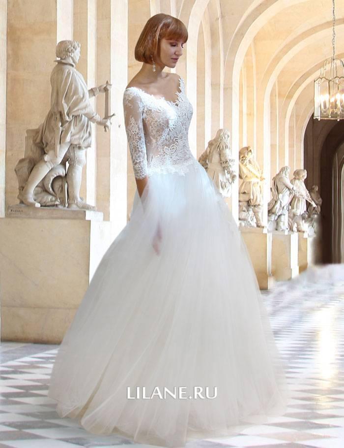 Вид сбоку свадебного платья А-силуэт Rachel