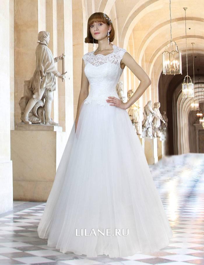 Закрытое белое свадебное платье А-силуэт Samantha