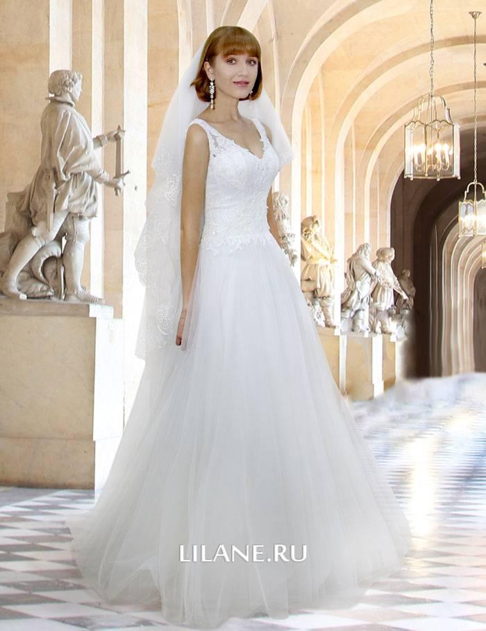 Пышное свадебное платье А-силуэт Sandy с закрытым верхом и V-образным вырезом горловины