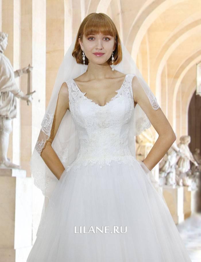 V-образный вырез горловины кружевного пышного свадебного платья А-силуэт Sandy