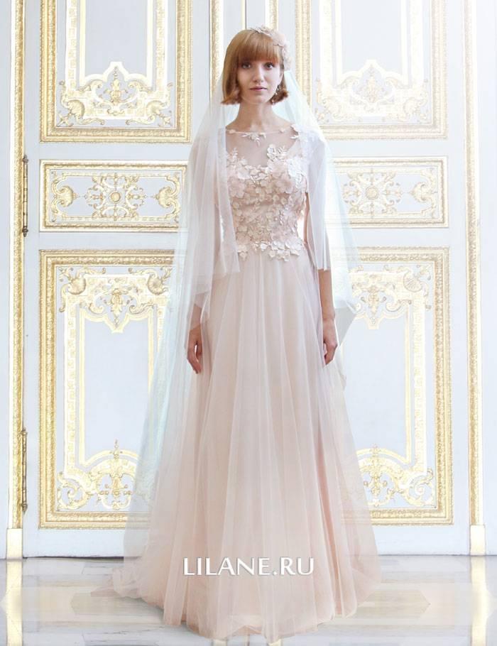 Цветное закрытое свадебное платье Tiffany А-силуэт с кружевом и 3D цветами