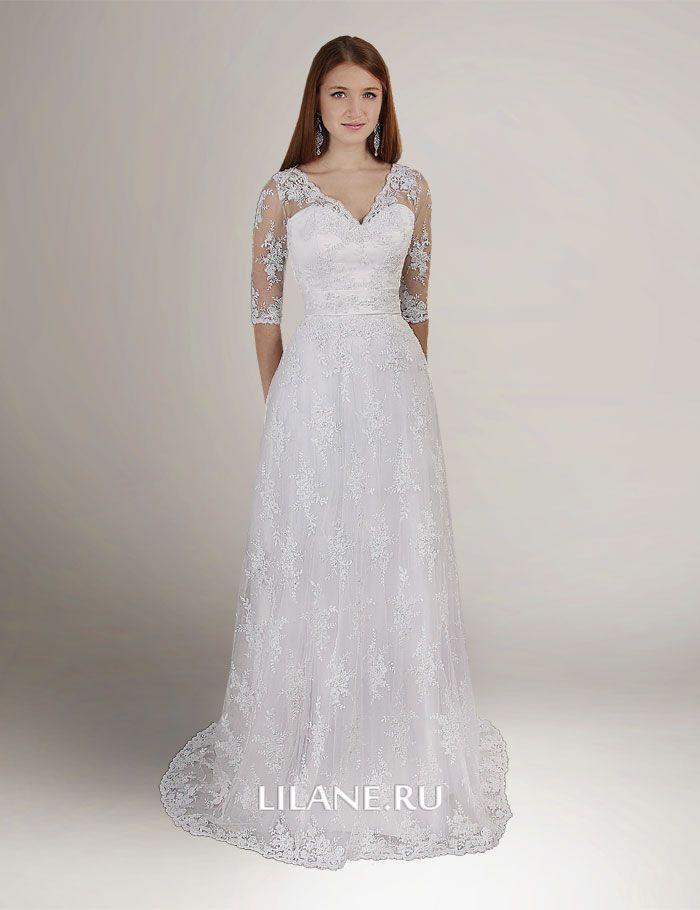 Корсетное кружевное прямое свадебное платье Polin для полных с рукавами