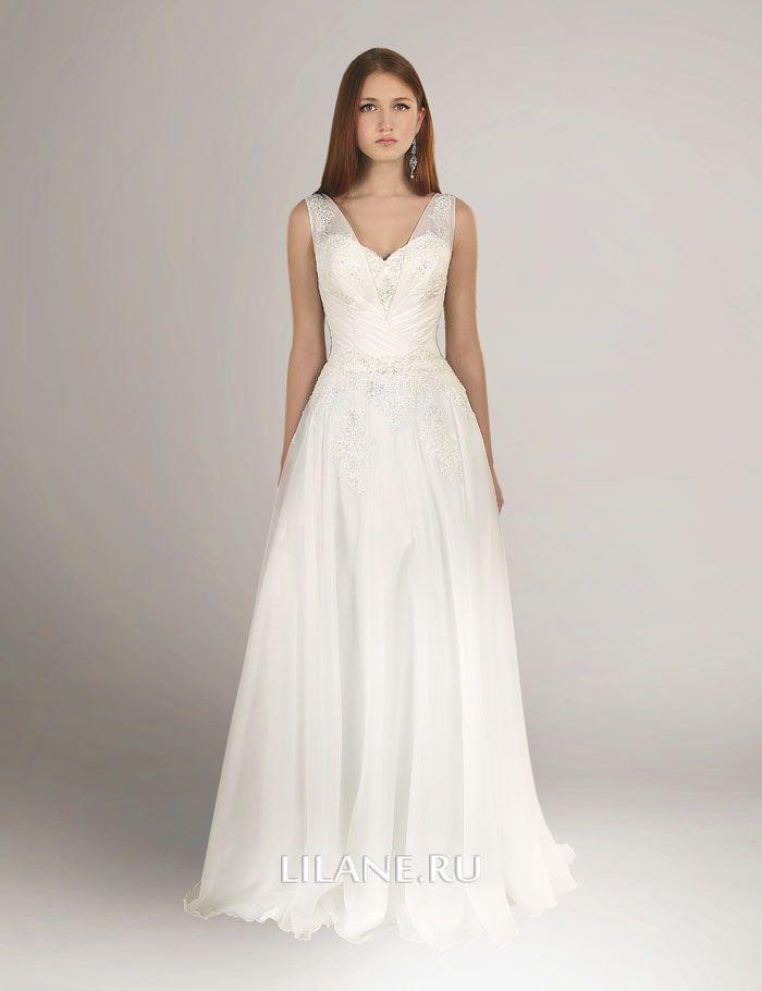 Греческое свадебное платье Dailis с драпированным корсетом на лямках
