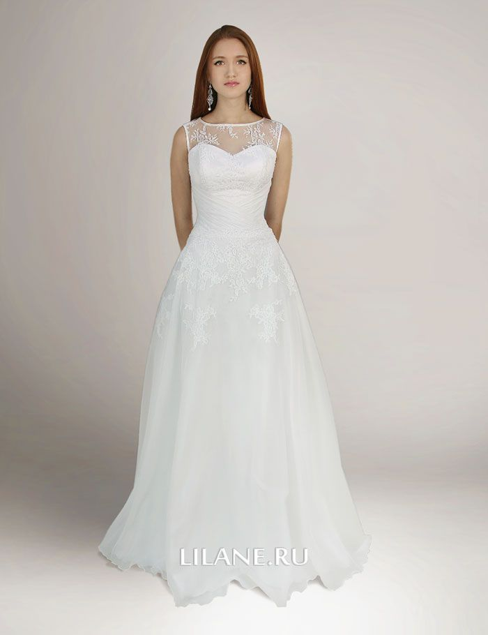 Греческое свадебное платье Gabriella белого цвета с закрытым верхом