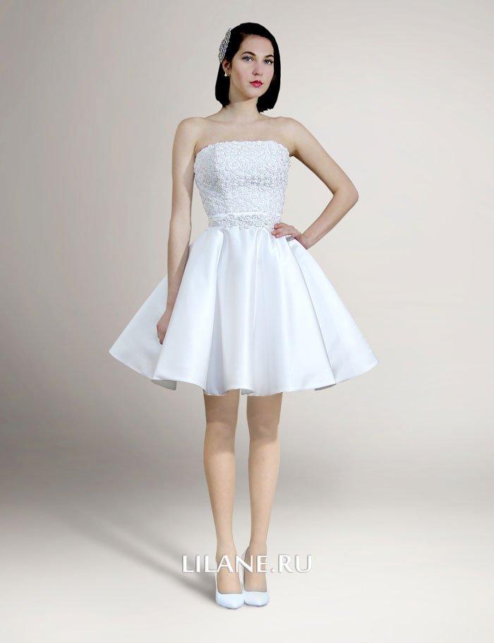 Короткое свадебное платье Ameli белого цвета