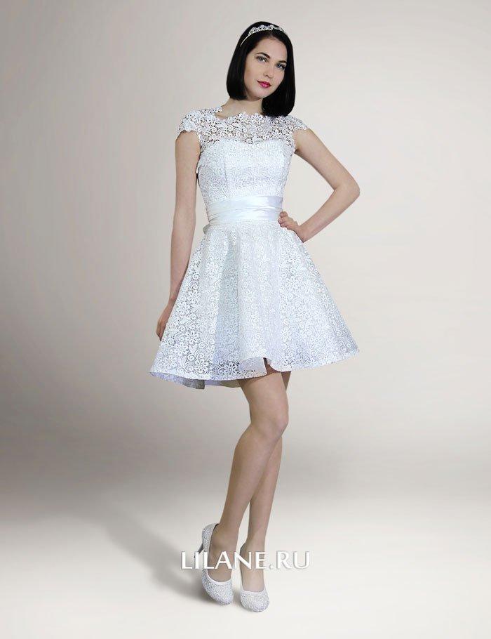 Короткое коктейльное свадебное платье Angelina цвета айвори
