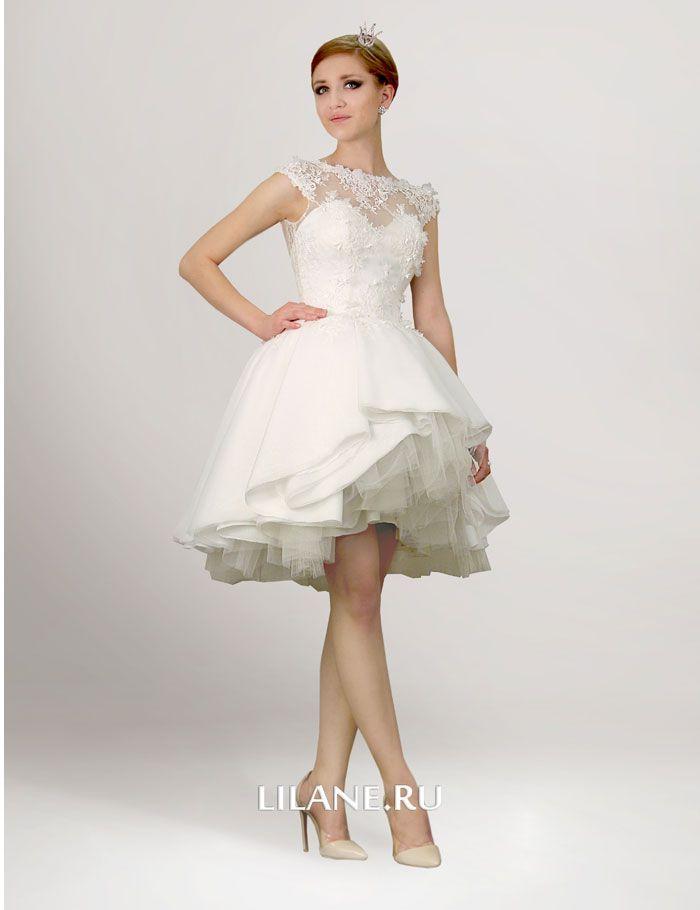 Короткое пышное свадебное платье Kira цвета айвори