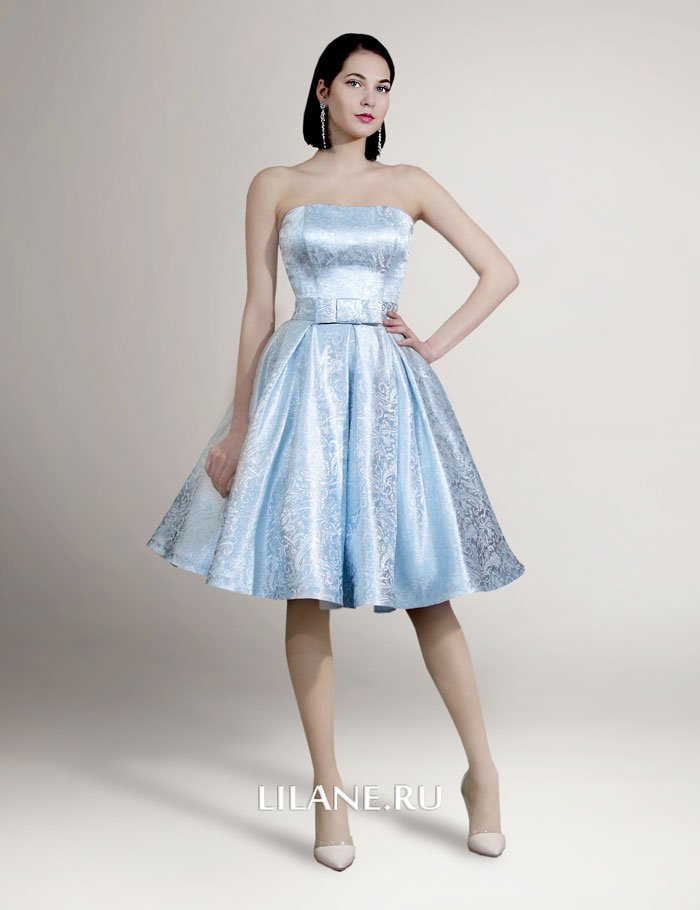 Короткое корсетное свадебное платье Leya из парчи