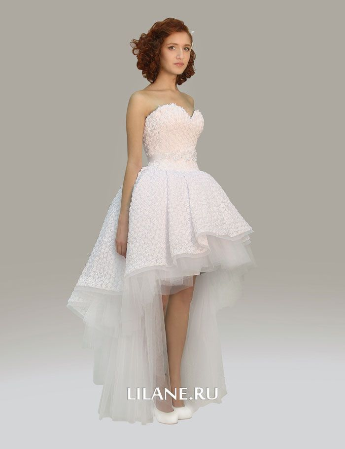 Укороченное спереди свадебное платье Luna из фактурной ткани