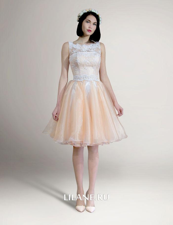 Короткое свадебное платье Stella персикового цвета