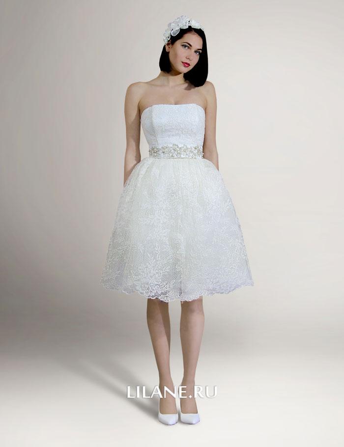 Короткое кружевное свадебное платье Victoriya цвета айвори