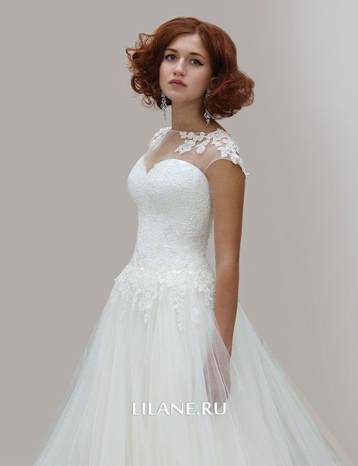 Кружевное свадебное платье Amalia цвета айвори