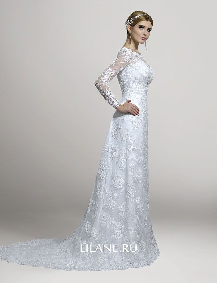 Вид сбоку кружевного свадебного платья Chloya