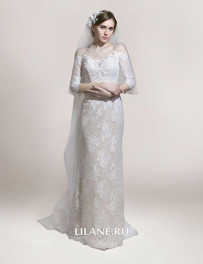Прямое кружевное свадебное платье Elina с рукавами