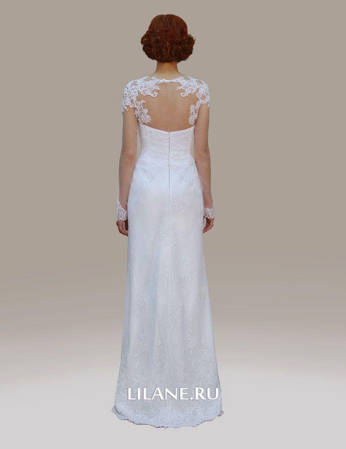 Спинка белого кружевного свадебного платья Gloria
