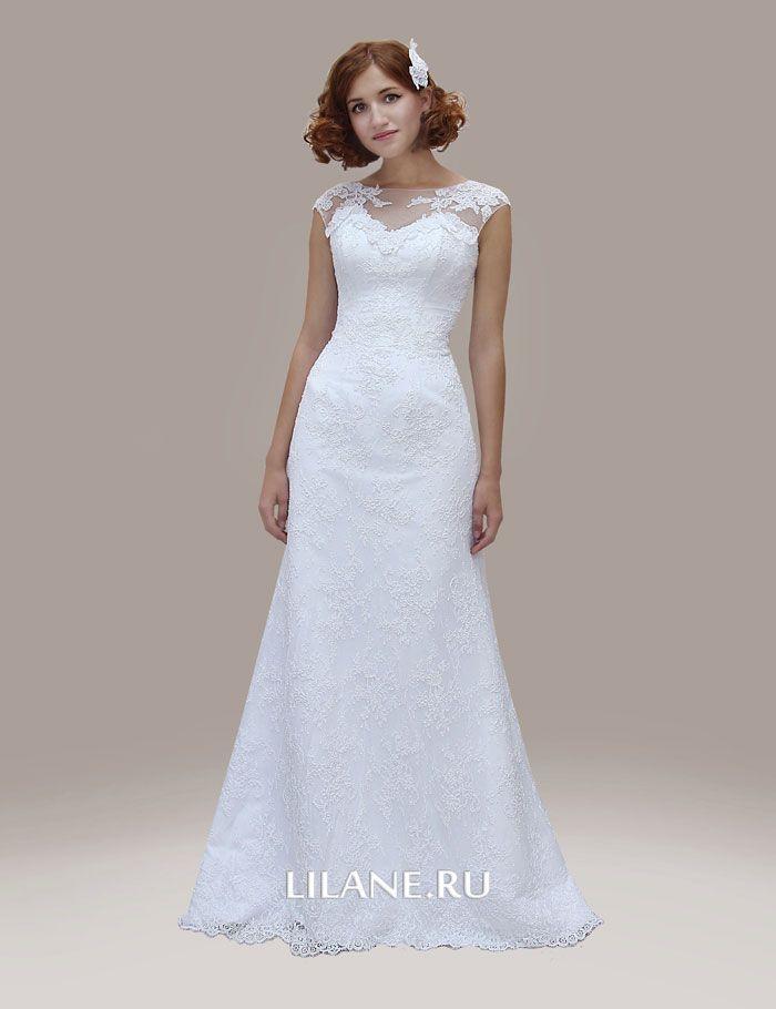 Прямое корсетное кружевное свадебное платье Inaly