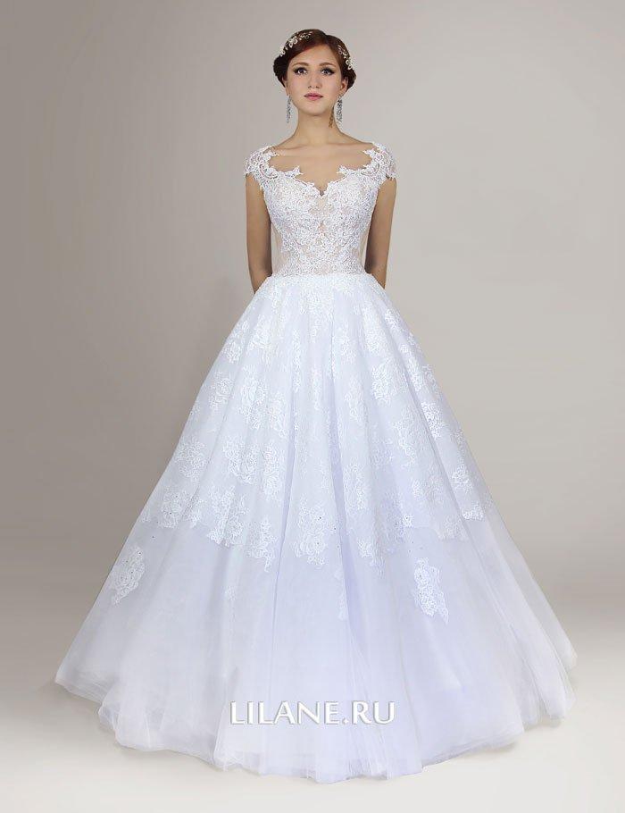 Великолепный кружевной узор корсета свадебного платья Lilane