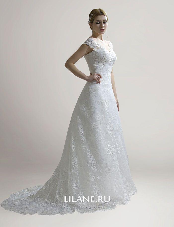 Кружевное свадебное платье Loren цвета айвори