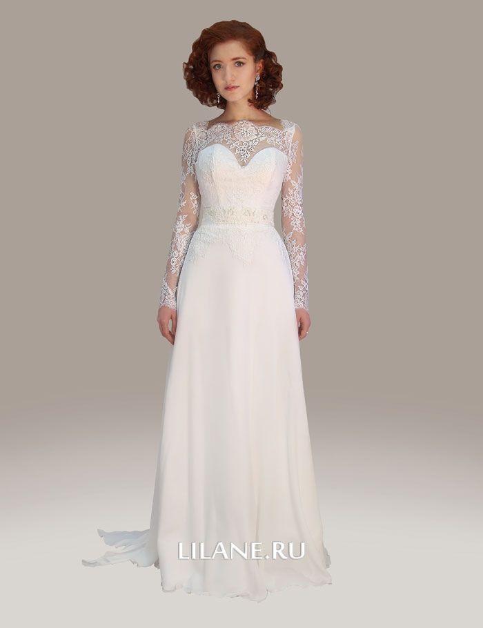 Шифоновая юбка прямого кружевного платья Selin