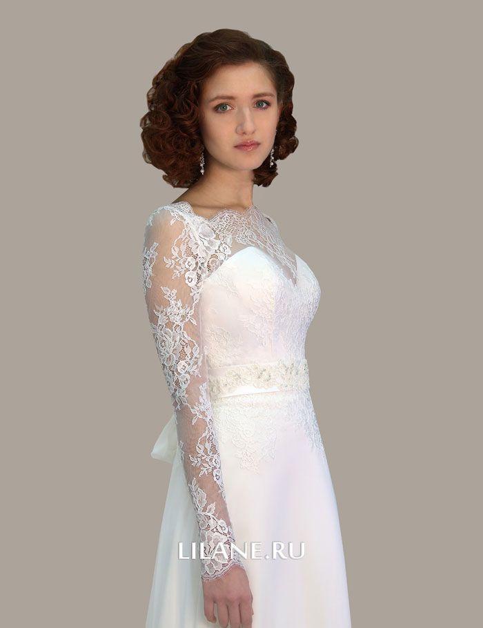 Кружевной верх с рукавами свадебного платья Selin