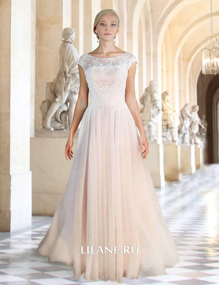 Цветное закрытое прямое свадебное платье Angel в греческом стиле с декором из французского кружева