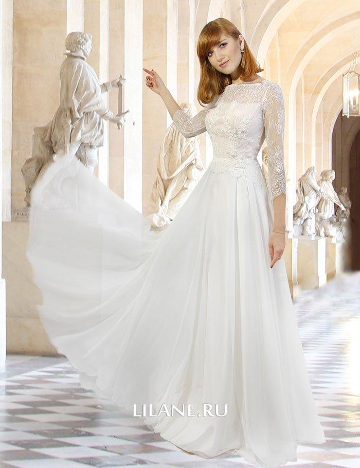 Закрытое нежное прямое свадебное платье Anita с рукавами.