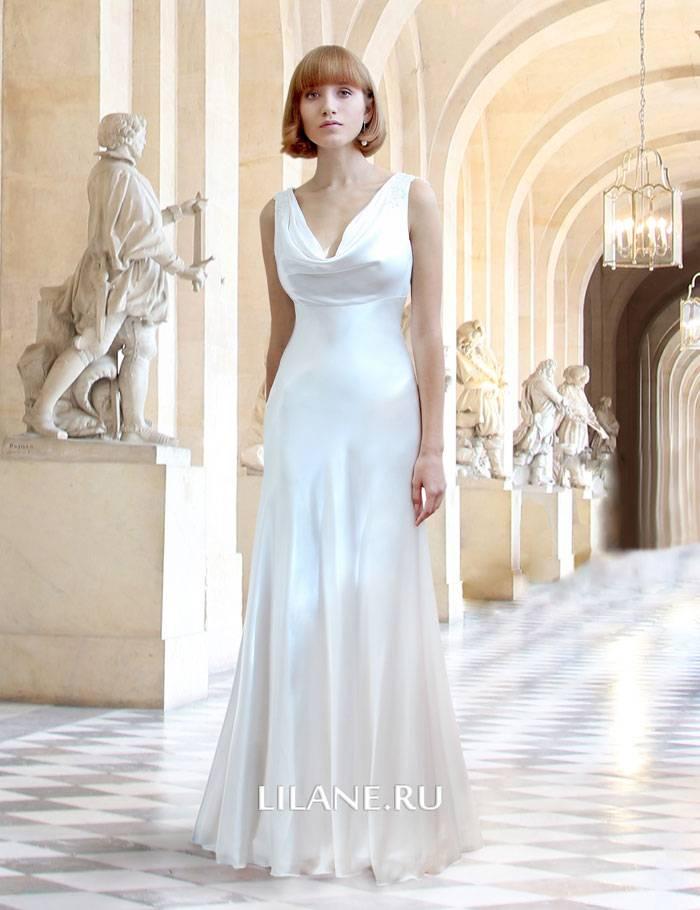 Прямое шёлковое свадебное платье Claire