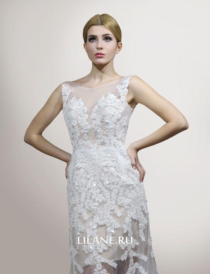 Подклад телесного цвета прямого свадебного платья Daniela