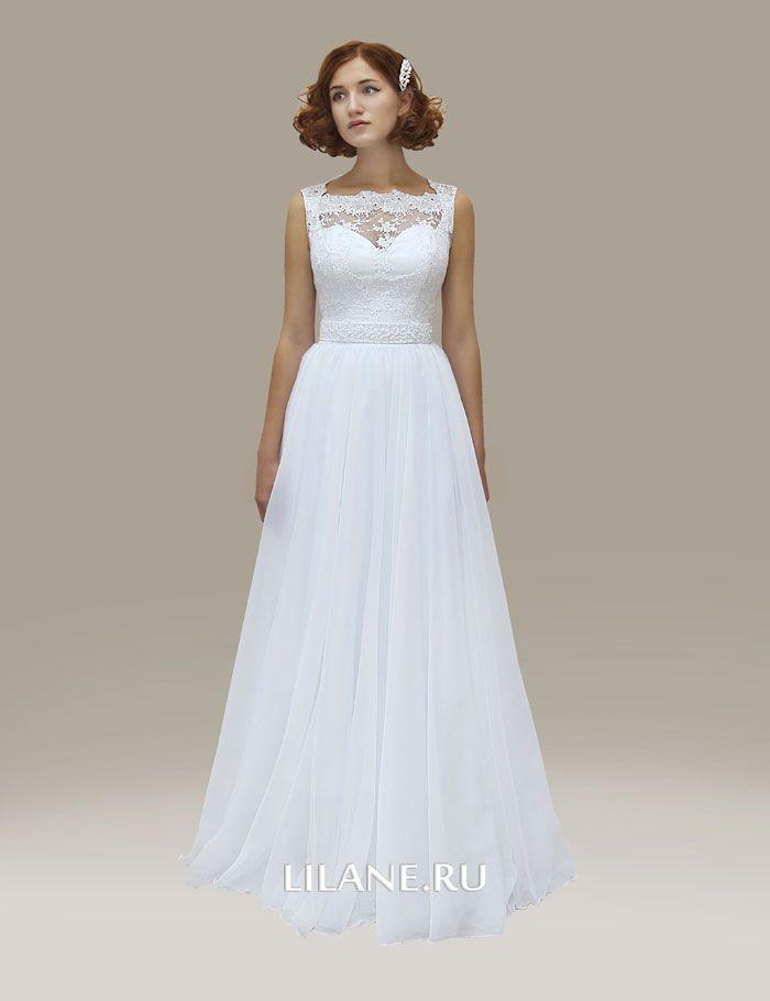 Кружевной верх прямого свадебного платья Dina