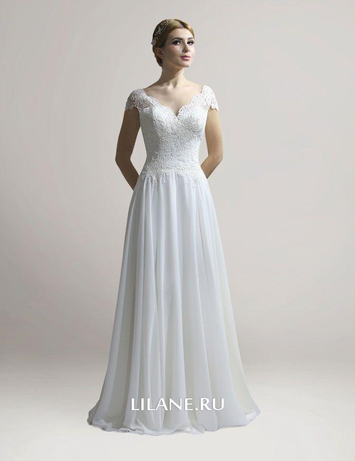 Лиф из кордового кружева прямого свадебного платья Elinor