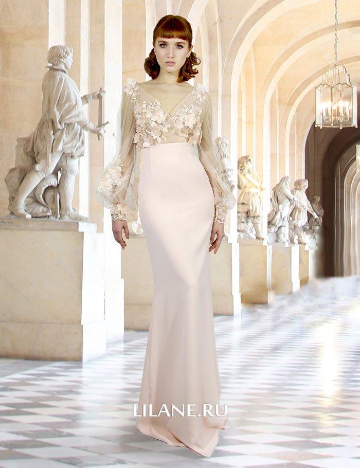 Персиковое свадебное платье Fany с кружевным полупрозрачным лифом