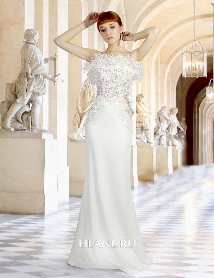Прямое свадебное платье Fiona из полупрозрачного кружевного корсета на телесной основе