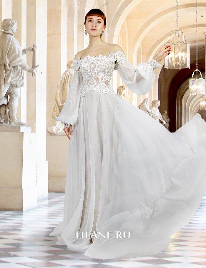 Свадебный комплект Gertruda из кружевного корсета с объёмными рукавами