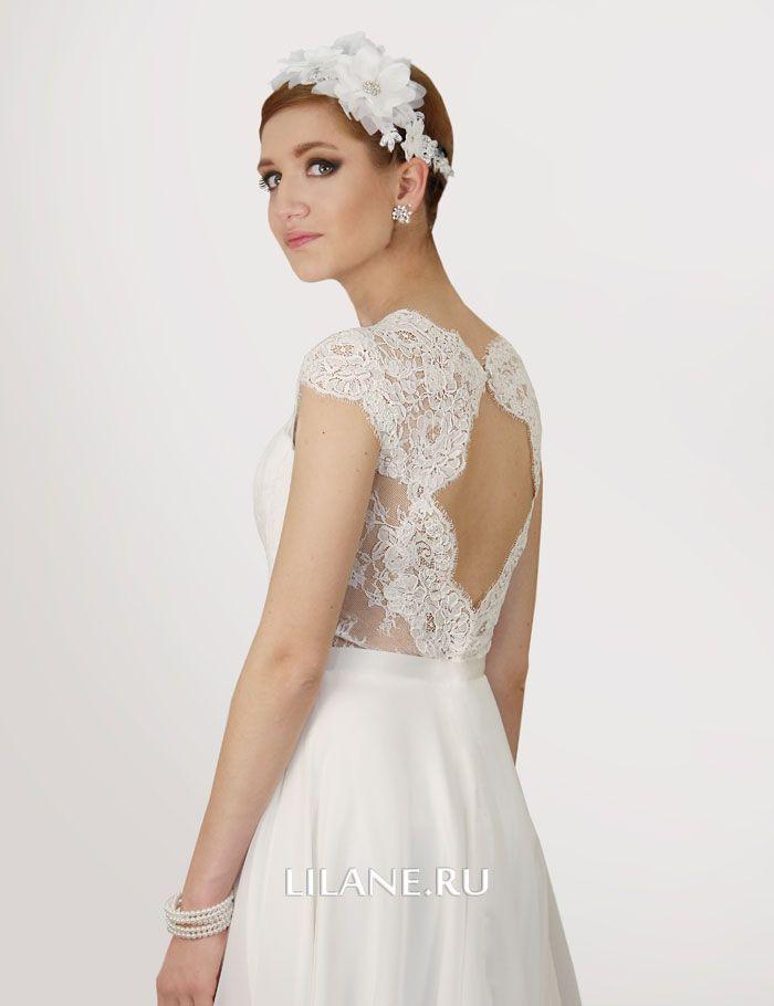 Кордовое кружево на спинке прямого свадебного платья Inna