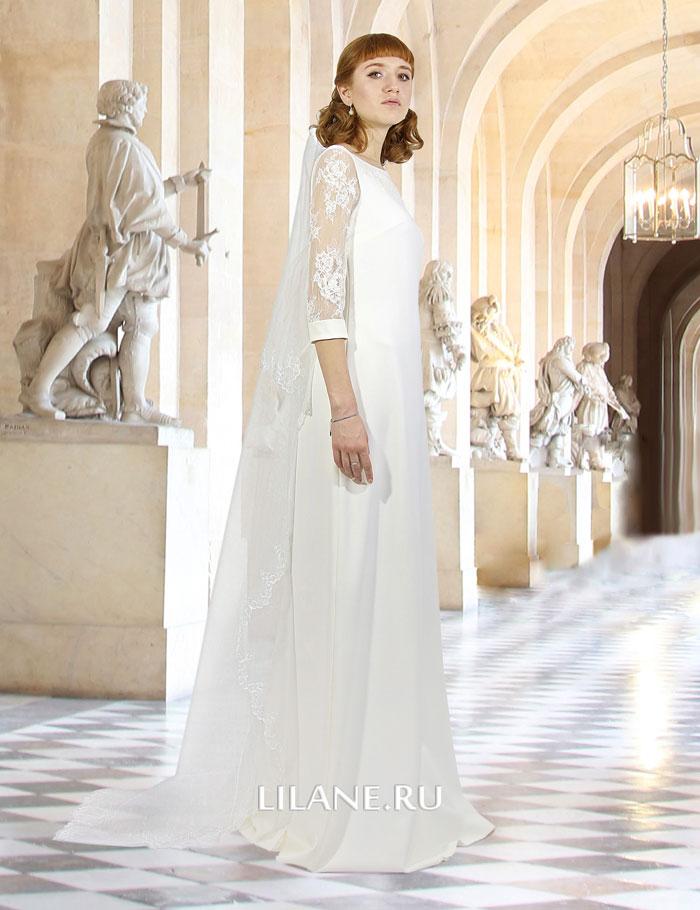 Прямое свадебное платье Irma цвета айвори с рукавами из французского кружева