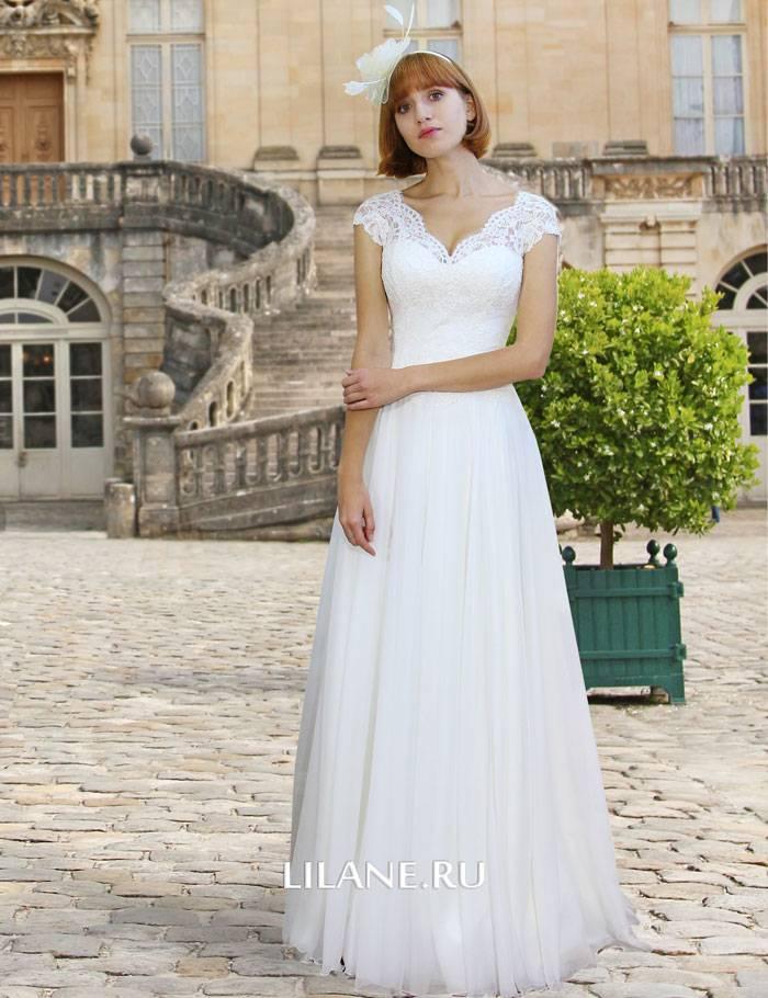 Прямое струящееся свадебное платье Kate с закрытыми плечами и V-образным вырезом из роскошного кружева, атласа и вуали