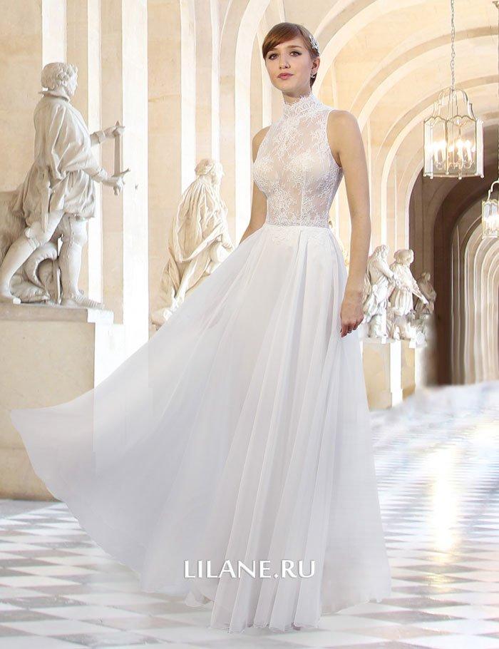 Кружевной верх прямого свадебного платья Miya