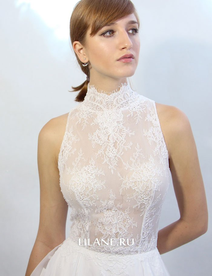 Закрытый верх прямого свадебного платья Miya