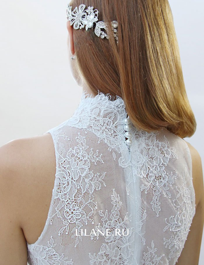 Кружевная спинка прямого свадебного платья Miya